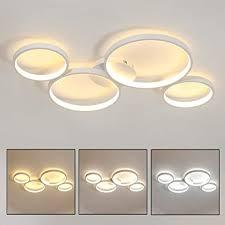 4 ring deckenleuchte modern rund deckenle dimmbar mit fernbedienung aluminium wohnzimmer le deko schlafzimmer leuchte ultradünne weiß 70w
