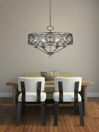Classic Oversized Lantern Chandeliers With Metal Frame Above Simple Dining Table For Room Furniture Ideas