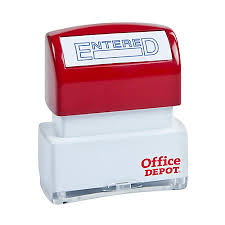 fice Depot Brand Pre Inked Message Stamp Entered Blue by fice