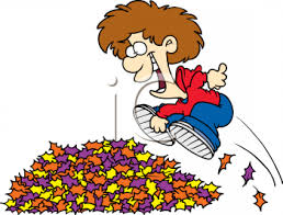 Little Boy Running and Jumping Into a Pile of Leaves Royalty Free Clipart Image