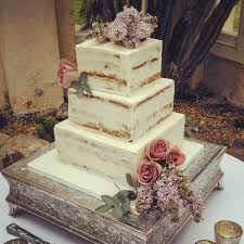 Square Semi Naked Wedding Cake At Syon House