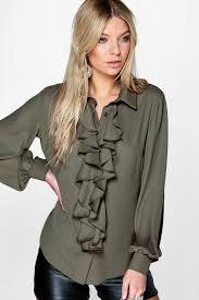 ona ruffle detail blouse boohoo