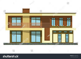 100 Modern Two Storey House Flat Style Cartoon Building Storey