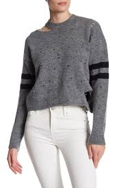 TOPSHOP Distressed Striped Sleeve Sweater
