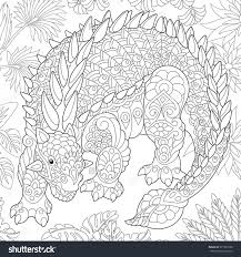 Stylized Ankylosaurus Dinosaur Of The Cretaceous Period Freehand Sketch For Adult Anti Stress Coloring Book
