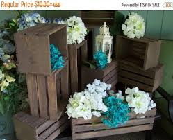 ON SALE Rustic Flower Box Centerpiece Wooden Crates Wedding Reception Table Home Decor