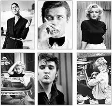 elafi premium poster 6er set bilder schwarz weiß deko wohnzimmer vintage berühmte schauspieler und sänger schöne bilder wohnzimmer groß
