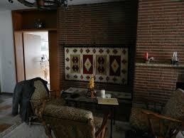 wohnzimmer sessel kamin massiv holz ca 70er 80er jahre