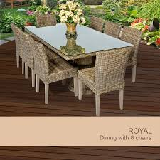 Rectangle Patio Tablecloth With Umbrella Hole by Royal Vintage Stone Rectangular Outdoor Patio Dining Table With 8