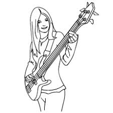 Girl Playing Guitar Coloring