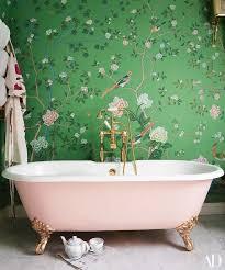 grüne abnehmbare tapete badezimmer badewanne zimmer grün