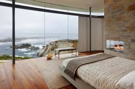 schlafzimmereinrichtung glaswand steinwand spektakuläre