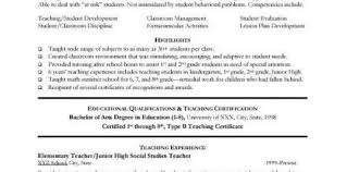 Example Of Teacher Resume