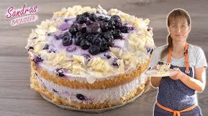 blaubeer quark torte mit mandeln und lockerem biskuitboden