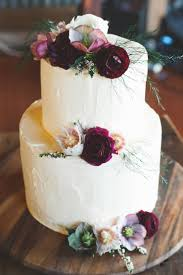 Rustic Burgundy Country Wedding Buttercream Cake Flowers
