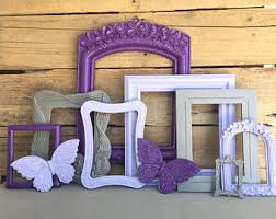 Purple Lilac Grey With BUTTERFLIES OPEN Frames Set Of 8