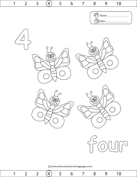 The Number 4 Coloring Page