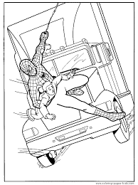 Spider Man Saves A Child Free Printable Coloring Page