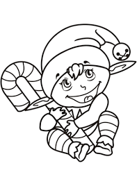 Click To See Printable Version Of Cute Christmas Elf With Candy Cane Coloring Page