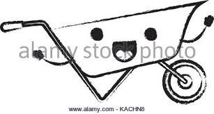 wheelbarrow flat icon monochrome cartoon blurred silhouette Stock