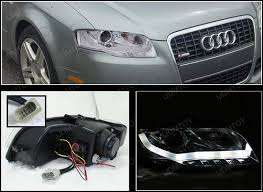 06 08 audi a4 chrome r8 style projector led daytime headlights
