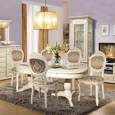 esszimmer set avignon massivholzmöbel im landhausstil weiß mit goldener patina