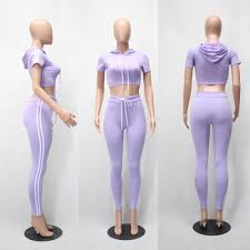 Women 2 Pieces Bodycon Hoodies Sweatshirt Suit Set Summer Female