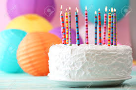 Birthday cake with candles on colorful background Stock