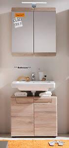 details zu badmöbel set badezimmer möbel eiche hell unterschrank und spiegelschrank malea