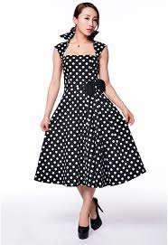 skelapparel vintage design polka dot high collar swing dress at