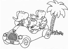 Babar The Elephant Family Trip With Car Coloring Pages