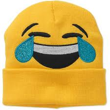 Womens Joy Laughing Tears Emoji Beanie