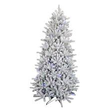 Pre Lit Pencil Christmas Trees by 6 5 Ft Pre Lit Led Flocked Balsam Wrgb Artificial Christmas Tree