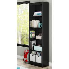 South Shore Morgan Narrow Storage Cabinet by South Shore Axess 5 Shelf Pure Black Bookcase 7270758 The Home Depot