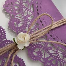 Rustic Purple Laser Cut Invitations With Twine And Flower EWWS057 2