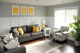 Charcoal Grey Sofa And Chair Yellow Pillows Art Pieces