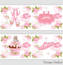 Pink Ballerina Border Decals Wall Art Girls Shabby Chic Nursery