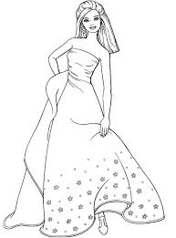 Coloring Page Of Barbie Girl Wearing Long Dress 221x300