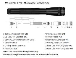 2aa led mini maglite pro pro flashlight parts