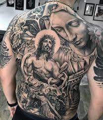 Religious Mens Catholic Jesus And Mary Back Tattoo