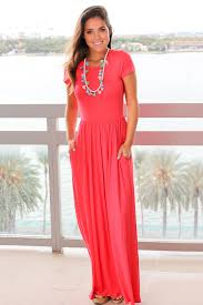 coral short sleeve maxi dress with pockets maxi dresses u2013 saved