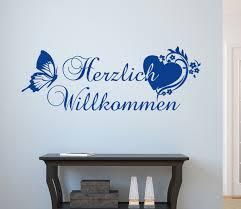 dekoration wandtattoo wohnzimmer flur herzlich willkommen