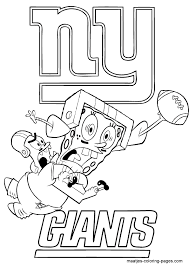 Ny Giants Coloring Pages Nfl New York Spongebob Page Printable