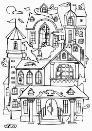 Haunted Houses With Many Ghost Coloring Page