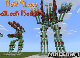 new slime block robots redstone map minecraft pe