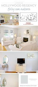 Cutting Edge Stencils Shares A DIY Stenciled Living Room Makeover Using The Flock Of Cranes Stencil