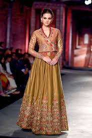 anju modi olive angrakha style khadi blouse and silk lehenga skirt