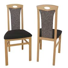 esszimmerstuhl aus buche massivholz braun stoff 2er set