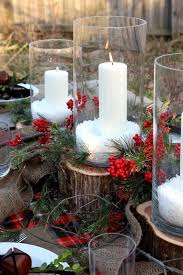 This Candle Decoration On A Wood Log With Mistletoe And Burlap Is Perfect For Lovely Outdoor Table Setting