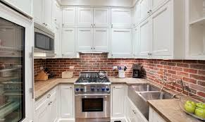 KitchenNarrow White Kitchen Cabinet Using Brick Backsplash Also Wooden Countertop Plus Stainless Steel